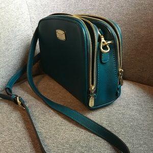 Michael Kors teal leather crossbody bag purse